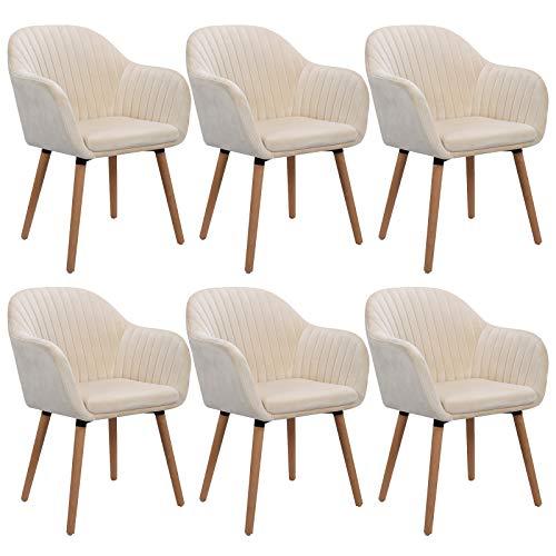 WOLTU 6X Esszimmerstühle Küchenstuhl Wohnzimmerstuhl Design Stuhl Polsterstuhl mit Armlehne Samt Massivholz Cremeweiß BH95cm-6