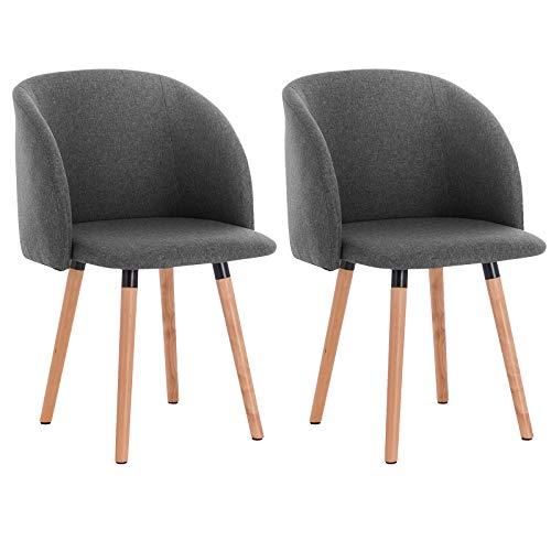 WOLTU Esszimmerstühle #1216 2er Set Küchenstuhl Wohnzimmerstuhl Polsterstuhl Design Stuhl mit Armlehne, Gestell aus Massivholz