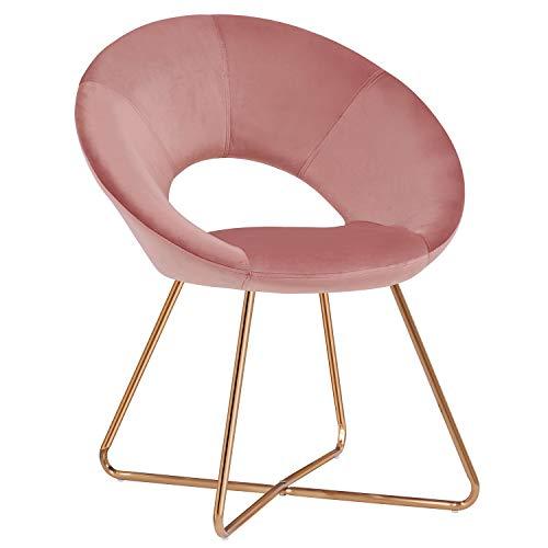 Duhome Esszimmerstuhl Stoffbezug (Samt) Konferenzstuhl Besucherstuhl herausragendes Design Farbauswahl 439D, Farbe:Pink, Material:Samt