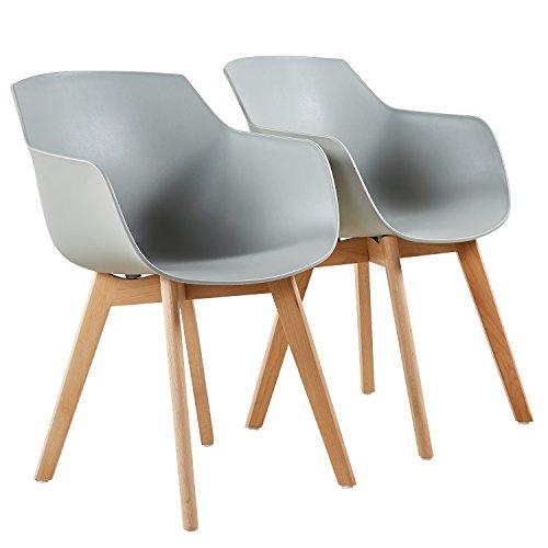 H.J WeDoo 2er-Set Wohnzimmerstuhl Esszimmerstuhl mit Armlehne und Buchenholz Retro Design Stuhl für Büro Lounge Küche Wohnzimmer (Grau)
