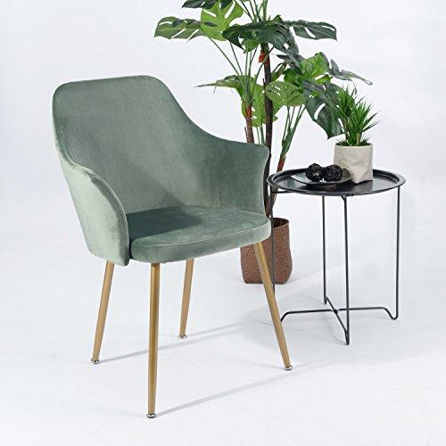H.J WeDoo Samt Esszimmerstuhl mit Gepolstertem Rücken und Sitz, Retro Stuhl mit Armlehne und Metall Gold Beine - Grün