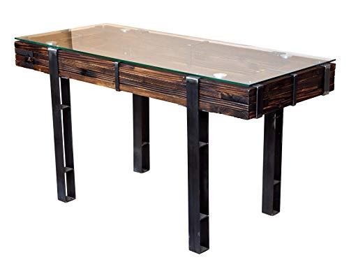 CHYRKA® Esszimmertisch Esstisch LEMBERG Loft Vintage Bar IndustrieDesign Handmade Holz Glas Metall