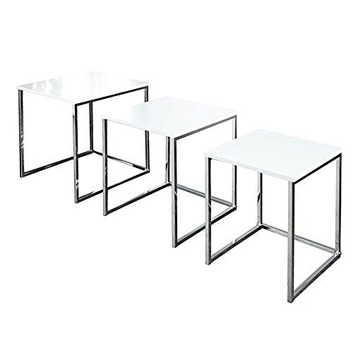Design Beistelltisch 3er Set FUSION hochglanz weiss chrom