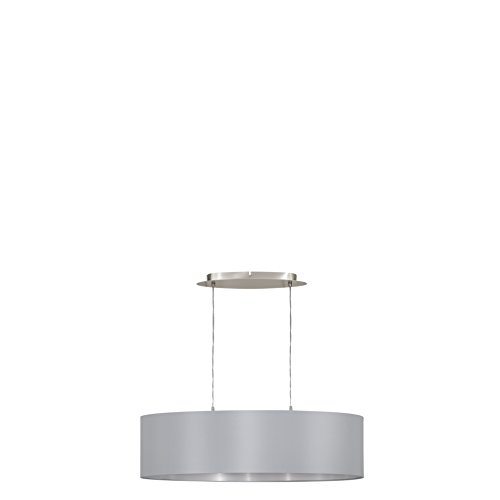 EGLO 31612 A++ to E, Hängeleuchte, Stahl, E27, Nickel-matt/Grau/Silber, 78 x 22 x 110 cm