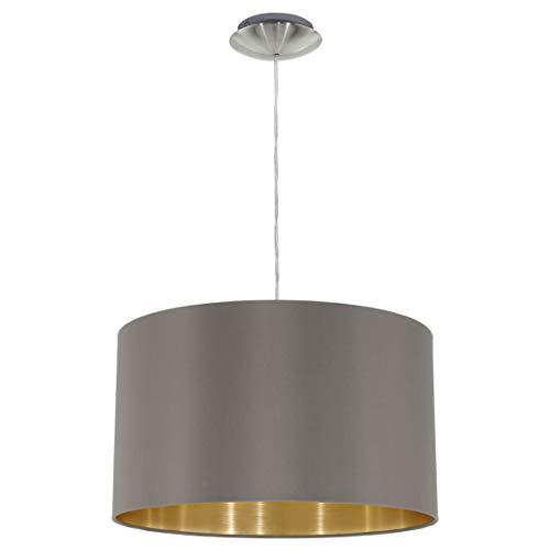 EGLO Hängeleuchte Maserlo Durchmesser 38cm Nickel-Matt Schirm Cappucino Gold Stahl E27, 38 x 38 x 110 cm