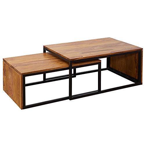 FineBuy Design Couchtisch 2er Set FB51444 Sheesham Massivholz Sofatisch Klein | Beistelltische Satztisch Holz | Massivholz Wohnzimmer-Tisch Metallgestell | Schmaler Sofatisch Palisander Ablagetisch
