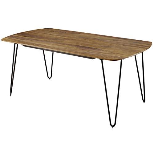 FineBuy Esszimmertisch KEYLA Sheesham Massivholz   Esstisch mit Metallbeinen   Massiver Echtholz Tisch Quadratisch   Designer Holztisch Massiv   Moderner Küchentisch Braun