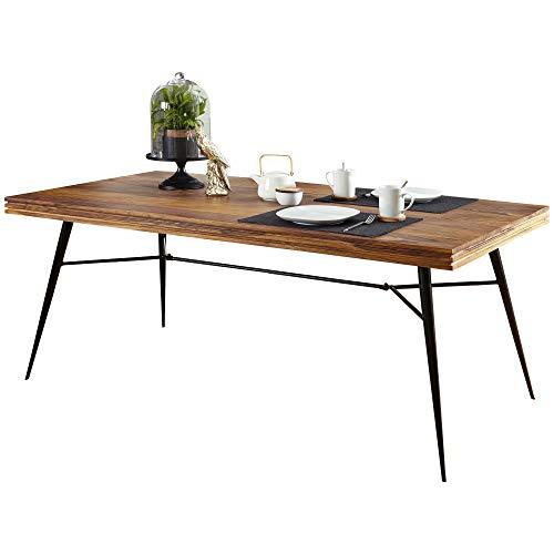 FineBuy Massiver Esstisch Nasha Sheesham Massiv Holz   Esszimmertisch Massivholz mit Design Metall Beinen   Holztisch Tisch Esszimmer   Küchentisch Holzplatte mit Metallgestell