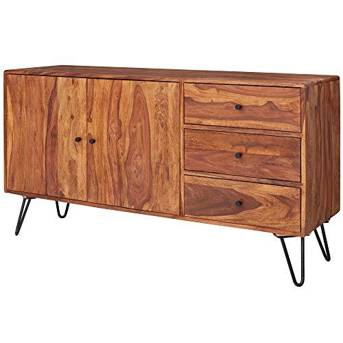 FineBuy Sideboard FB51420 Sheesham Massivholz 140x75x40 cm Landhaus Kommode | Design Anrichte mit 3 Schubladen & 2 Türen | Hohe Schubladenkommode Holz | Kommodenschrank Massiv Wohnzimmer