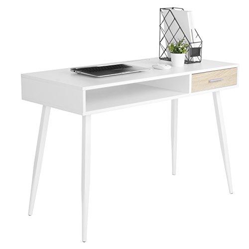WOLTU Schreibtisch TS39ws Computertisch Bürotisch Arbeitstisch PC Laptop Tisch, in Melamin, mit 1 Schubladen und 1 Offenen Fach, Gestell aus Stahl, 110x50x75cm(BxTxH), Holz, Weiß
