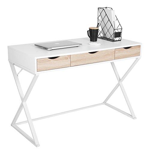 WOLTU® Schreibtisch TS40ws Computertisch Bürotisch Arbeitstisch PC Laptop Tisch, in Melamin, mit 3 Schubladen, Gestell aus Stahl, 110x50x75cm(BxTxH), Holz, Weiß
