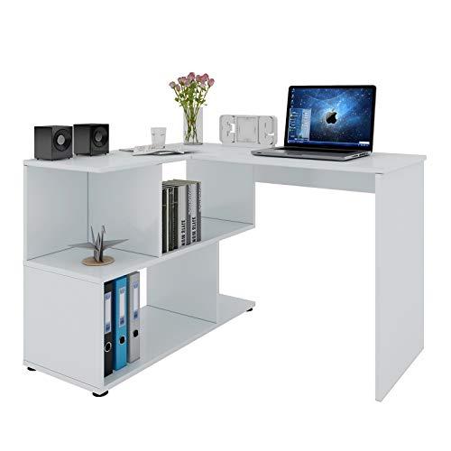 WOLTU® Schreibtisch TS64ws Computertisch Eckschreibtisch Winkelschreibtisch Winkelkombination Bürotisch Arbeitstisch PC Laptop Tisch, mit Ablagen, 120x100x77cm(BxTxH), MDF, Weiß