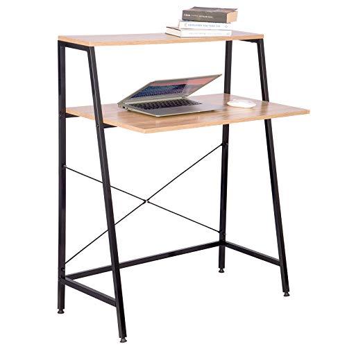 WOLTU TSB32hei Schreibtisch Computertisch Büromöbel PC Tisch Bürotisch Arbeitstisch aus Holz und Stahl, mit Ablage, ca. 84x48x116 cm