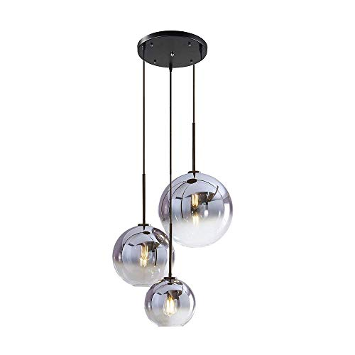 Wings of wind - Farbverlauf Glas Lampenschirm, E27 Schraubenhalter Pendelleuchte Glaskugel Licht Schatten Ion Silber