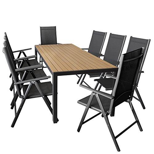 Wohaga 9er Set Gartenmöbel Aluminium Gartentisch mit Polywood Tischplatte 205x90cm + 8X klappbare Hochlehner mit 2x2 Textilengewebe, Rückenlehne 7-Fach verstellbar