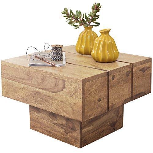 Wohnling Couchtisch Viereckig Massivholz Design Wohnzimmertisch 44 x 44 cm Quadrat 30 cm Beistelltisch Cube Modern quadratisch Natur Holz Landhaus-Stil ausgefallen indisch Braun Wohnzimmermöbel …