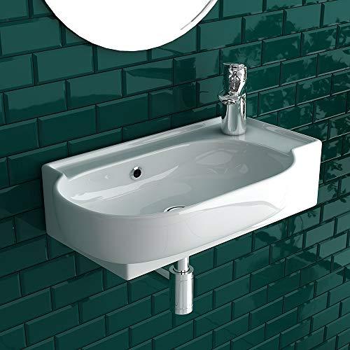 bad1a Handwaschbecken Mini Waschtisch Weiß Keramik-Waschbecken 45cm mit Überlauf  WC-Waschbecken klein Gästebad Hängewaschbecken  Wandmontage, Badezimmer  Oval Italienisches Design