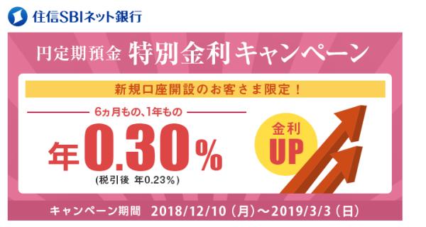 住信SBIネット銀行/特別金利キャンペーン
