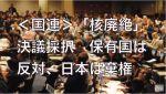国連で日本は「核廃絶決議案」を提出するも「核使用禁止」決議は棄権:日本のスタンスは「将来的には核廃絶だけど、現実的には核使用は禁止すべきでない」という感じ?