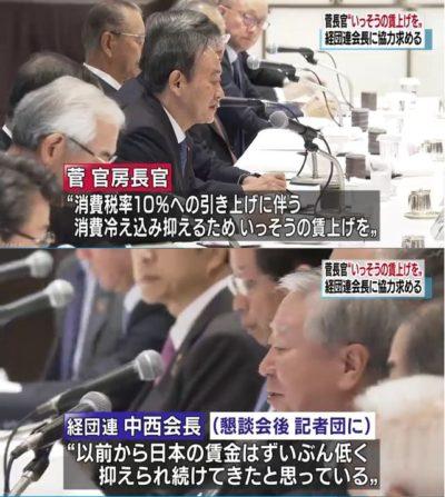 【茶番】菅官房長官「消費増税に向けて一層の賃上げを」経団連会長「私は以前から、日本の賃金はずいぶん低く抑えられ続けてきたと思っている」
