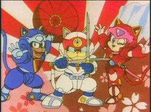 Samurai Pizza Cat con su armadura de batalla