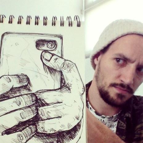 caricatura-selfie-fotografía-real-troqman