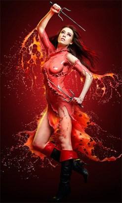 fotografia-superheroina-elektra-calor-refrescante-escultura-liquida