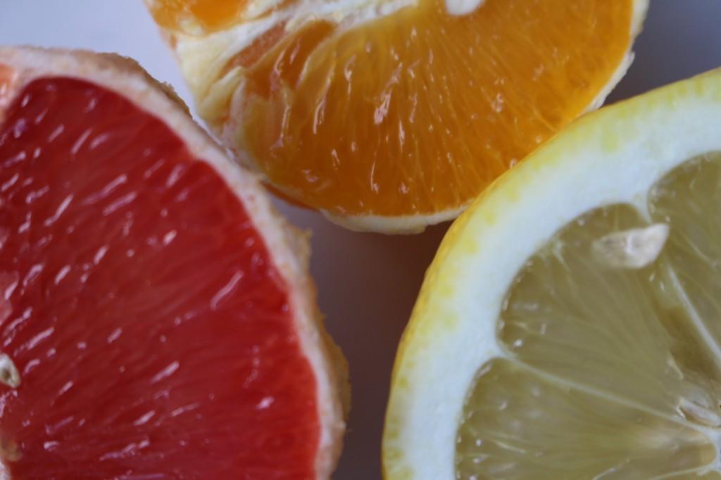 grape, appelsin og citron