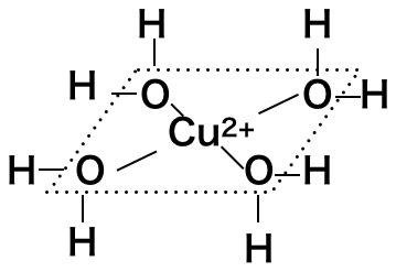 銅の周りを4つの水分子が水和しているぜ