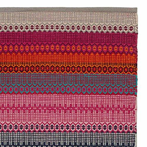 URBANARA Teppich Aonla  100 Baumwolle PinkGrauTrkis mit ethnischen Mustern  140 x 200