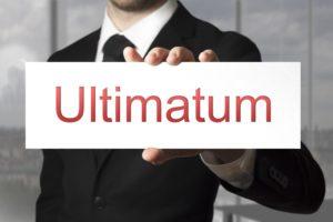 soñar con un ultimatum