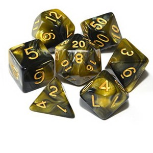 Chaotic Neutral - Brown / Yellow Dice Set