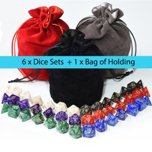 6 x Pearl Dice Bundle + Satin-Lined Velvet Bag