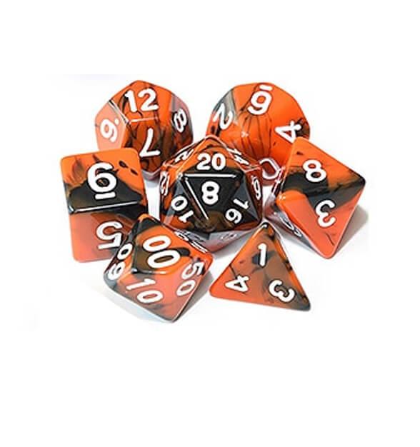 Orange Black Polyhedral Marble Dice Set