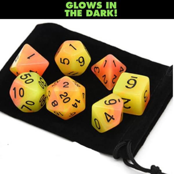 Glow in the Dark – Yellow Orange Dice Set