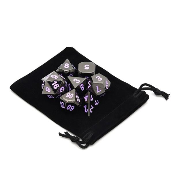 Raven Chrome Metal Dice Set /w Purple