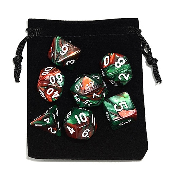 Green Brown Polyhedral Marble Dice Set