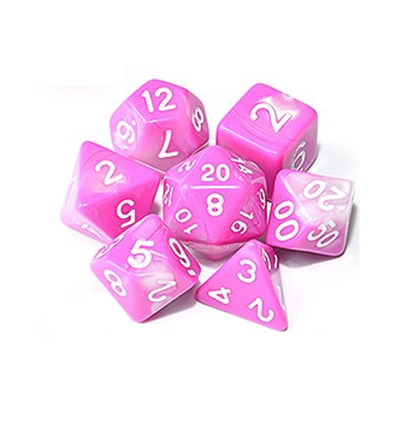 Pink White Polyhedral Marble Dice Set