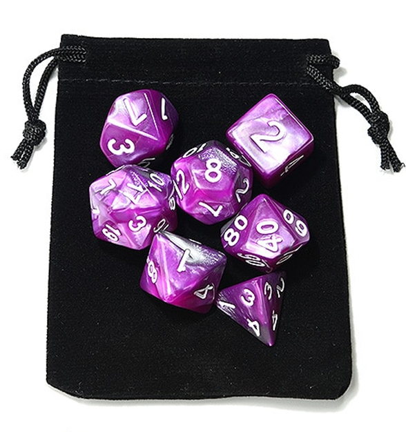 Purple and Silver Polyhedral Dice Set