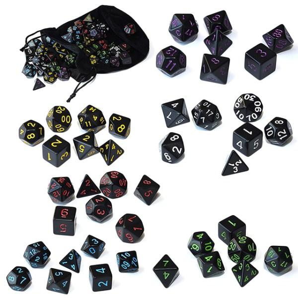 6 x Dice Set Raven Black Bundle + Satin-Lined Velvet Bag