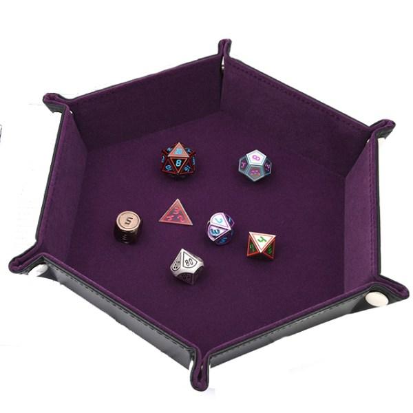 Dice Tray - Folding Hex Tray w/ Purple Velvet