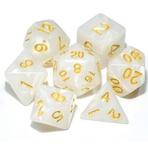 DnD Dice White /w Gold