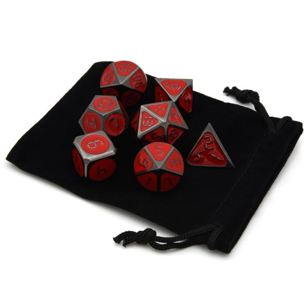 Metal Dice Set - Neo Digital Red / Black