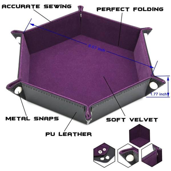Dice Tray - Folding Hex Tray w/ Orange Velvet