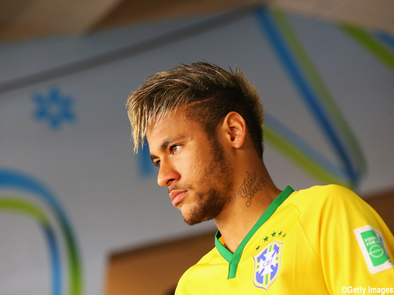 FORTALEZA, BRAZIL - JULY 04: Neymar of Brazil looks on in the tunnel prior to the 2014 FIFA World Cup Brazil Quarter Final match between Brazil and Colombia at Estadio Castelao on July 4, 2014 in Fortaleza, Brazil. (Photo by Alex Livesey - FIFA/FIFA via Getty Images)