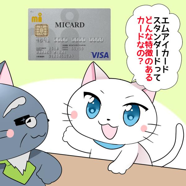 白猫が博士に 「エムアイカードスタンダードってどんな特徴のあるカードなの?」 と聞いているシーン(背景にエムアイカードスタンダード)