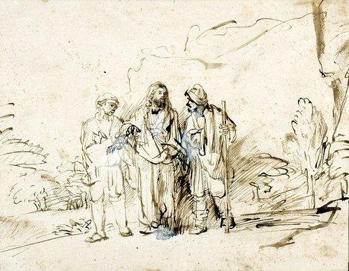 Rembrandt, Le Christ avec deux disciples sur la route d'Emmaüs, encre et lavis sur papier, c. 1655, bibliothèque de l'université de Varsovie.