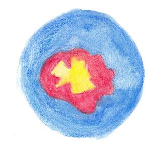 jaune et rouge dans bleu