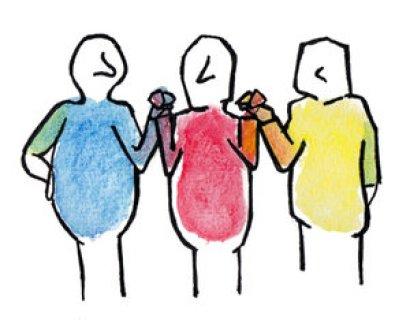 trois bonhommes bleu rouge jaune