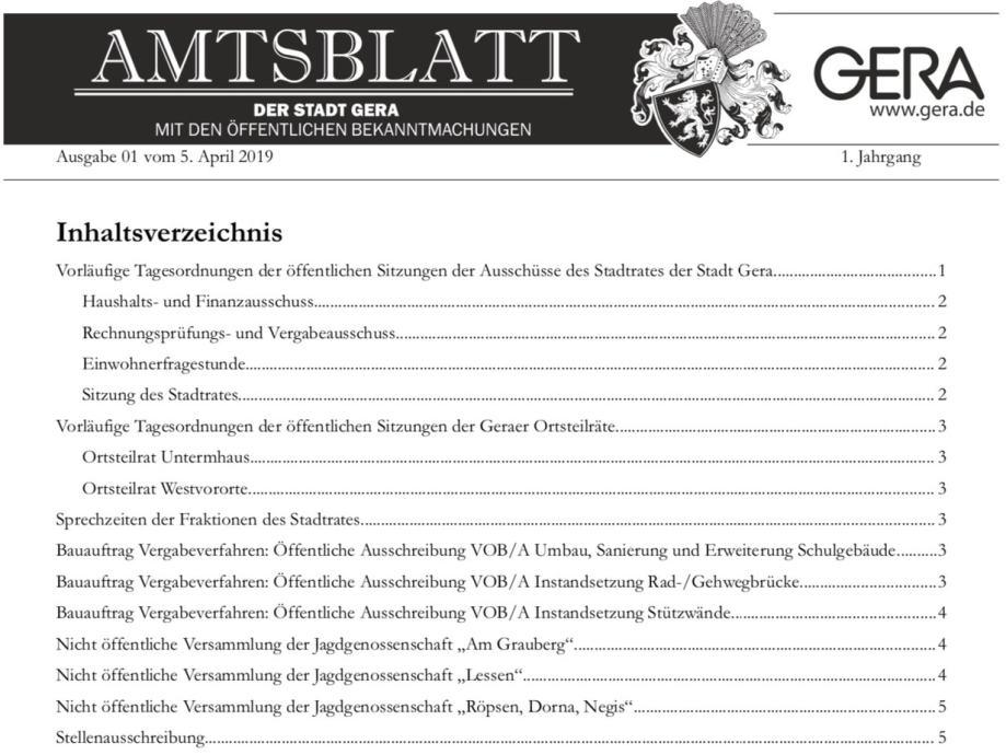 Amtsblatt der Stadt Gera